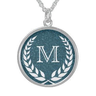 Blue Glitz Wreath Frame Monogram Sterling Silver Necklace