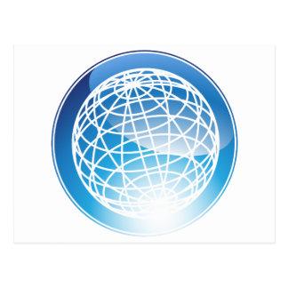 Blue Globe Crystal Icon Postcard