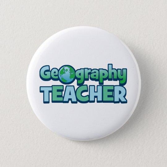 Blue Globe Geography Teacher 6 Cm Round Badge