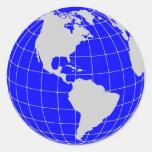 Blue Globe Stickers