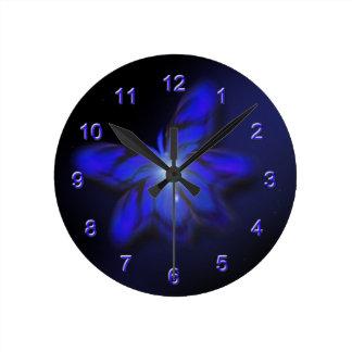 Blue Glow Butterfly Wall Clock