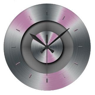 Blue Glow Faux Metal Elegant Modern Wall Clock