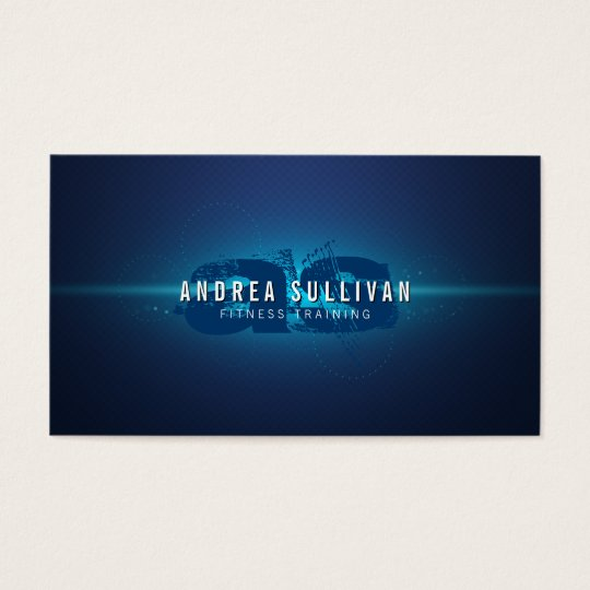 Blue Glow Grunge Monogram Trainer Business Card