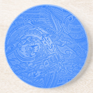 Blue Glow Hand-drawn Crazy Tribal Doodle Drink Coasters