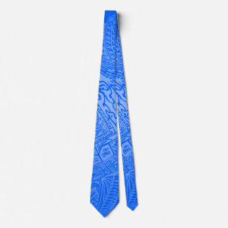 Blue Glow Hand-drawn Crazy Tribal Doodle Tie