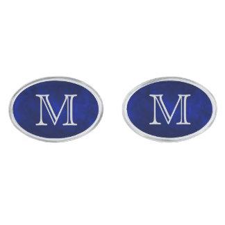 Blue Glow Silver Monogram Silver Finish Cuff Links