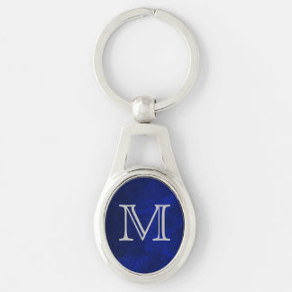 Blue Glow Silver Monogram Silver-Colored Oval Key Ring