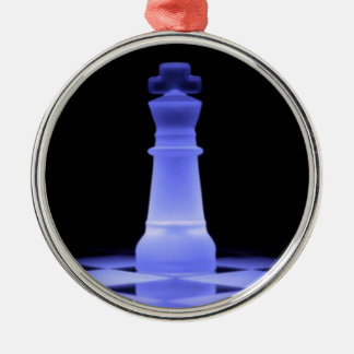 Blue Glowing King Chess Piece Christmas Ornament
