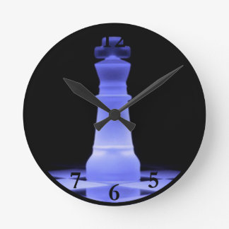 Blue Glowing King Chess Piece Round Clock
