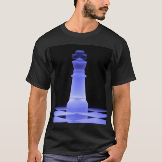 Blue Glowing King Chess Piece T-Shirt
