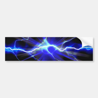 Blue glowing lightning or electricity bumper sticker