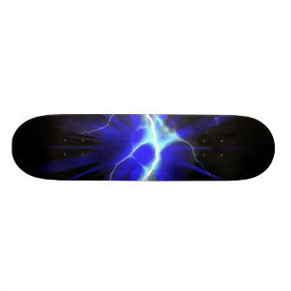 Blue glowing lightning or electricity skate board