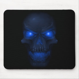 Blue Glowing Skull Mouse Mat