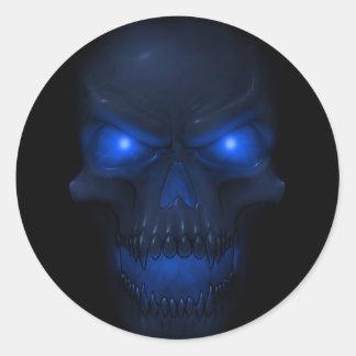 Blue Glowing Skull Round Sticker