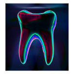 Blue Glowing Tooth Dentist Orthodontist Poster