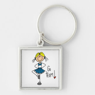 Blue Go Team Cheerleader Silver-Colored Square Key Ring