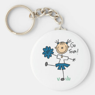 Blue Go Team Cheerleading Tshirts and Gifts Basic Round Button Key Ring