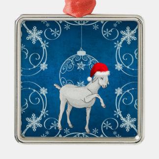 Blue Goat Silver-Colored Square Decoration