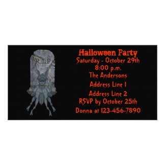 Blue Goblin Tombstone Halloween Party Invite Photo Card Template