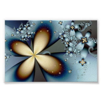 Blue Gold 4 Abstract Art Poster