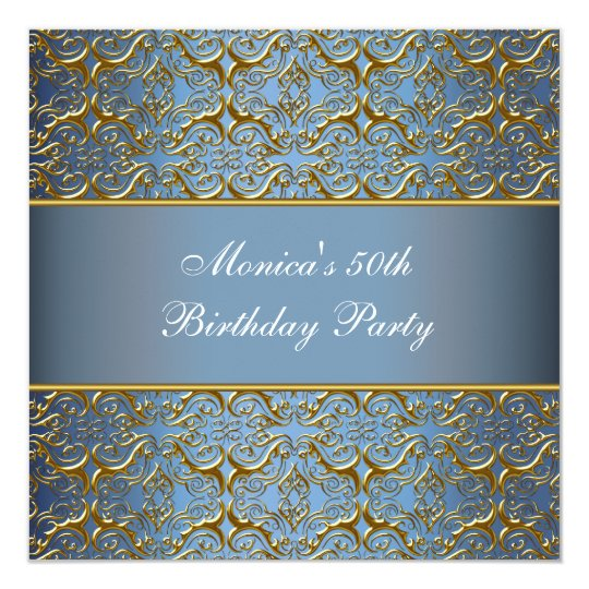Blue Gold 50th Birthday Invitation Elegant 50