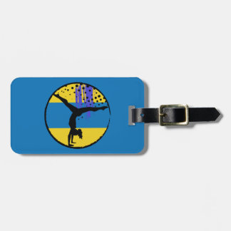 Blue Gold Abstract Art Gymnast Travel Bag Tag