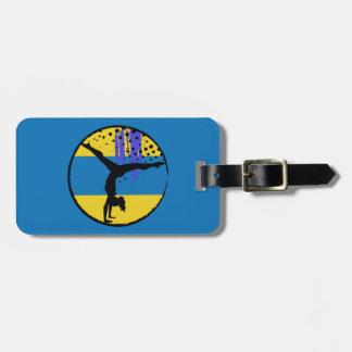 Blue Gold Abstract Art Gymnast Travel Bag Tag