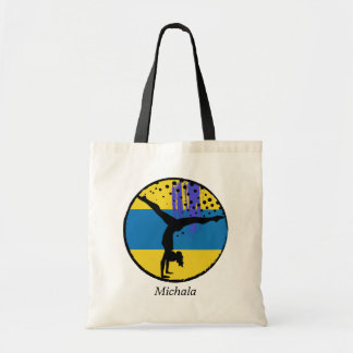 Blue Gold Abstract Gymnast Personalized Budget Tote Bag