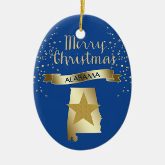 Blue Gold Alabama Star Ceramic Oval Decoration