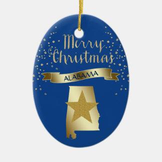 Blue Gold Alabama Star Christmas Ornament