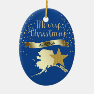 Blue Gold Alaska Star Christmas Ornament