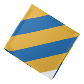 Blue Gold and White  Striped Bandana