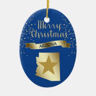Blue Gold Arizona Star Christmas Ornament