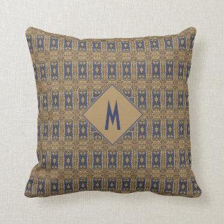 Blue Gold Art Nouveau Pattern Monogram Cushion