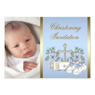 Blue Gold Baby Boy Photo Christening Invitations