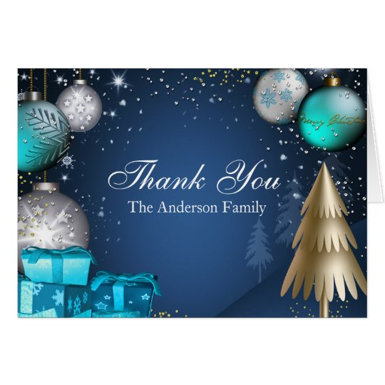Blue Gold Bauble Christmas Holiday Thank You Card