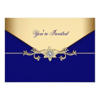 Blue Gold Blue Corporate Party Event Template 13 Cm X 18 Cm Invitation Card