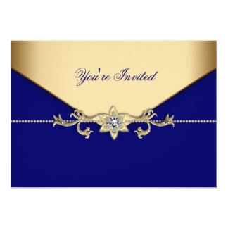 """Blue Gold Blue Corporate Party Event Template 5"""" X 7"""" Invitation Card"""