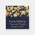 Blue Gold Bokeh Personalised Wedding Napkins Disposable Serviette