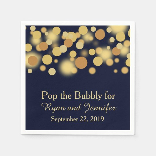 Blue Gold Bokeh Personalised Wedding Napkins Disposable