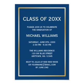 "Blue Gold Border Graduation Announcement 5"" X 7"" Invitation Card"