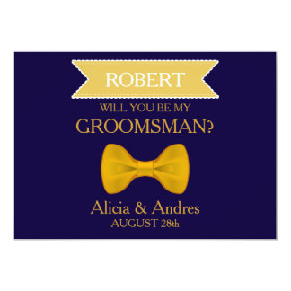 Blue & Gold Bow Will you be my Groomsman? 13 Cm X 18 Cm Invitation Card