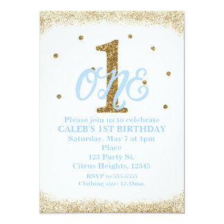 Blue & Gold Boys ONE 1st Birthday Party 13 Cm X 18 Cm Invitation Card
