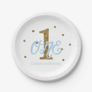 Blue & Gold Boys ONE 1st Birthday Party 7 Inch Paper Plate
