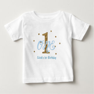 Blue & Gold Boys ONE 1st Birthday Party Custom Baby T-Shirt