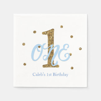 Blue & Gold Boys ONE 1st Birthday Party Disposable Napkin