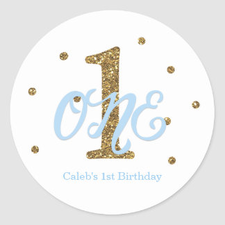 Blue & Gold Boys ONE 1st Birthday Party Favor Classic Round Sticker