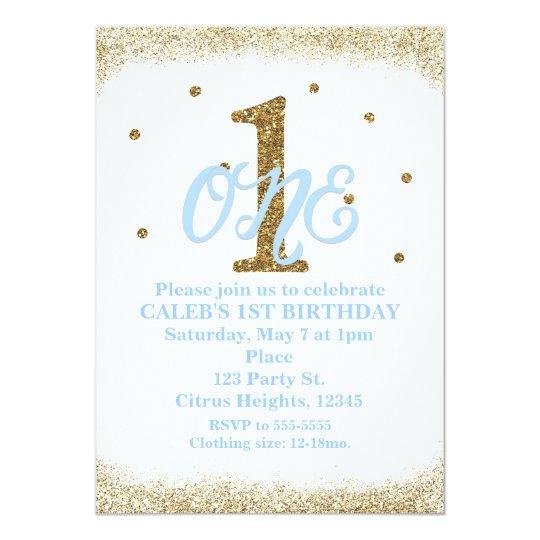 Blue Gold Boys ONE 1st Birthday Party Invitation