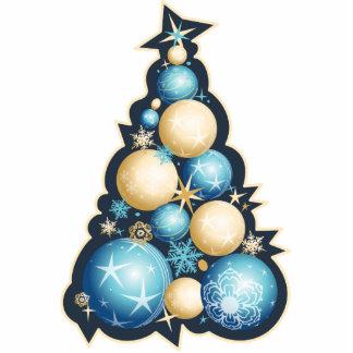 Blue & Gold Bubbles Christmas Tree Photo Sculpture Decoration