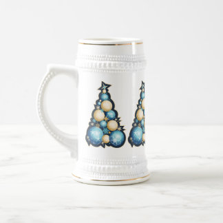 Blue & Gold Bubbles Christmas Trees Beer Stein